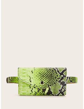 Snakeskin Print Fanny Pack by Romwe