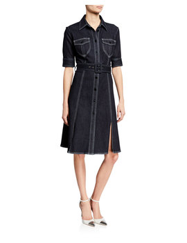Aurora Button Front Elbow Sleeve Belted Denim Dress by Elie Tahari