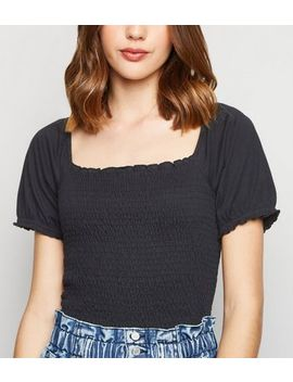 Black Shirred Square Neck Puff Sleeve Top by New Look