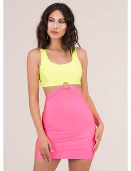 Ring Ring Cut Out Colorblock Minidress by Go Jane