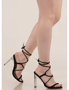 Raise The Bar Lace Up Lucite Heels by Go Jane