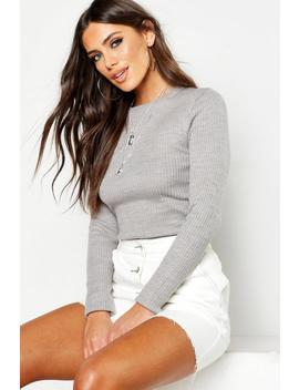 Rib Crew Neck Jumper by Boohoo