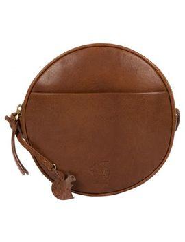 Conkca London   Dark Tan 'rolla' Leather Circular Cross Body Bag by Conkca London