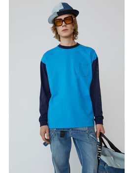 Two Tone T Shirt Turquoise Blue by Acne Studios