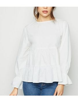 Innocence White Tiered Smock Top by New Look