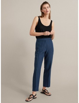 Navy Pinstripe Slim Fit Linen Cotton Trousers by Massimo Dutti