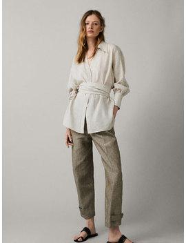 Slim Fit 100 Percents Linen Melange Trousers by Massimo Dutti