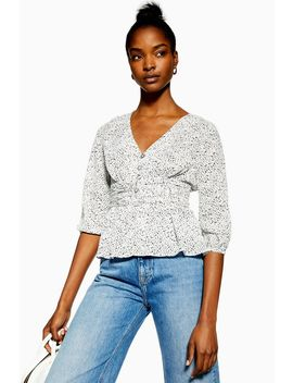Monochrome Spot Ruched Blouse by Topshop