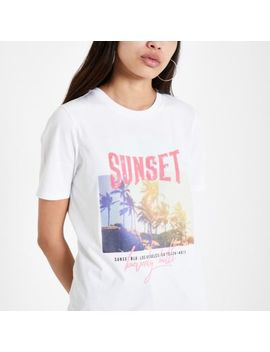 White 'sunset' Sequin Embellished T Shirt by River Island