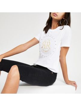 White Ri Embossed Diamante T Shirt by River Island