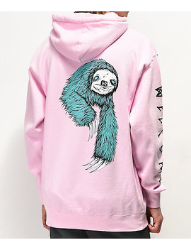 Welcome Sloth Pink Hoodie by Welcome Skateboards