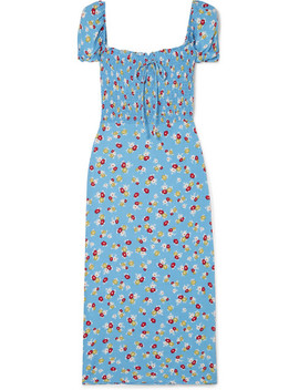Castilo Shirred Floral Print Crepe Midi Dress by Faithfull The Brand