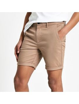 Light Brown Skinny Chino Shorts by River Island