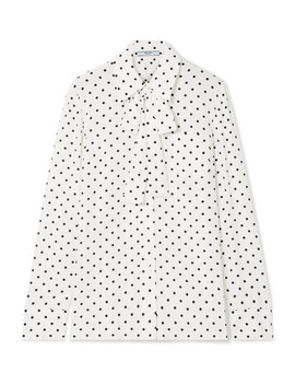 Pussy Bow Polka Dot Silk Crepe De Chine Blouse by Prada