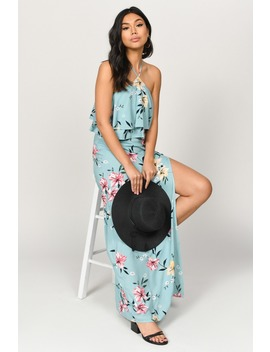 Perfect Florals Sage Multi Maxi Dress by Tobi