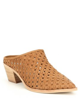 Sayer Perforated Woven Leather Block Heel Mules by Dolce Vita