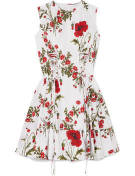 Lace Up Floral Print Cotton Poplin Mini Dress by Alexander Mc Queen