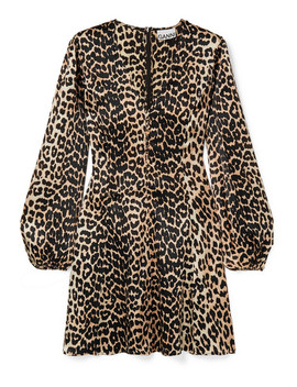 Blakely Leopard Print Silk Blend Satin Mini Dress by Ganni