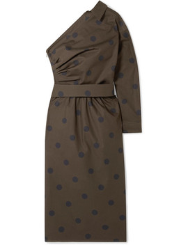 One Shoulder Belted Polka Dot Cotton Poplin Dress by Max Mara