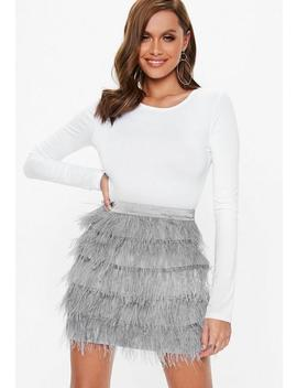 Grey Ostrich Feather Mini Skirt by Missguided