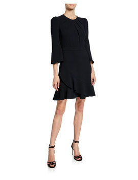 Rosina Draped 3/4 Sleeve Cocktail Dress by Diane Von Furstenberg