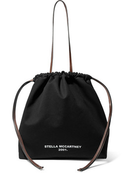 Faux Leather Trimmed Printed Cotton Canvas Tote by Stella Mc Cartney