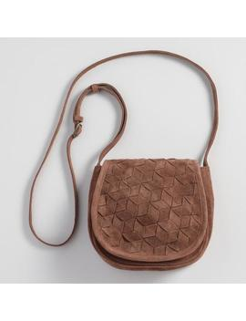 Cognac Brown Suede Crossbody Saddle Bag by World Market