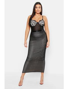 Plus Lace Stripe Mesh Midi Dress by Boohoo
