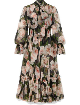 Pussy Bow Floral Print Silk Chiffon Dress by Dolce & Gabbana