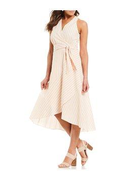 Dorean Striped Halter Midi Length Wrap Dress by Cremieux