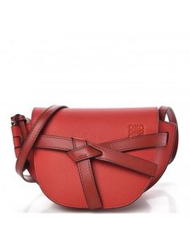 Loewe Grained Calfskin Mini Gate Crossbody Bag Scarlet Burnt Red by Loewe