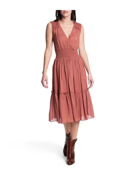 Natalie Gauze Fit &Amp; Flare V Neck Sleeveless Midi Dress by Frye
