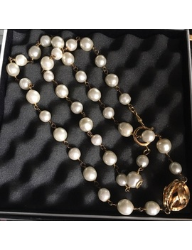 Chanel Vintage Cc Logo Long Pearl Necklace by Chanel