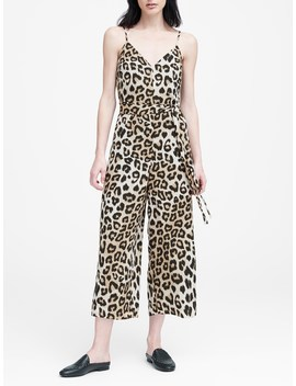 Leopard Print Wide Leg Cropped Jumpsuit by Banana Repbulic