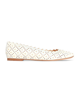 Lauren Scalloped Studded Laser Cut Leather Ballet Flats by Chloé