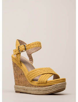 Just Beachy Woven Strap Platform Wedges by Go Jane