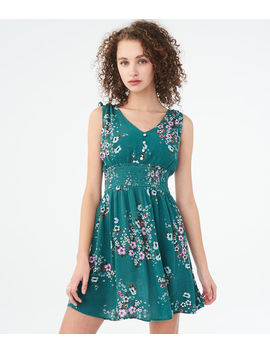 Floral V Neck Smocked Fit & Flare Dress by Aeropostale