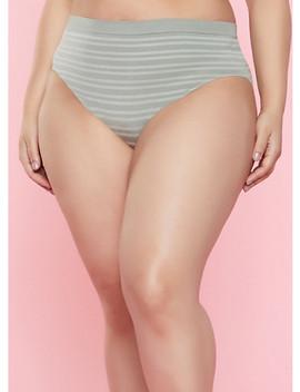 Plus Size Striped Bikini Panty | 7166064870061 by Rainbow
