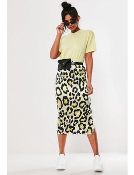 Stone Leopard Print Satin Slip Midi Skirt by Missguided