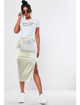 Gray Neon Polka Dot Slip Midi Skirt by Missguided