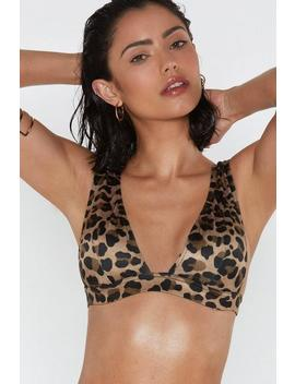 Wild At Heart Plunging Leopard Bikini Top by Nasty Gal