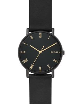 Women's Signature Leather Strap Watch, 40mm by Skagen