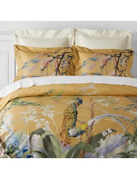 Painted Peacock Duvet Cover & Shams, Golden Yellow by Williams   Sonoma
