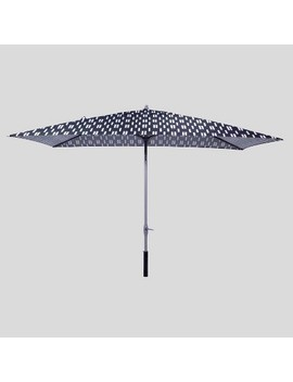 6.5' X 10' Rectangular Spaced Stripe Patio Umbrella Black   Ash Pole   Project 62™ by Shop This Collection