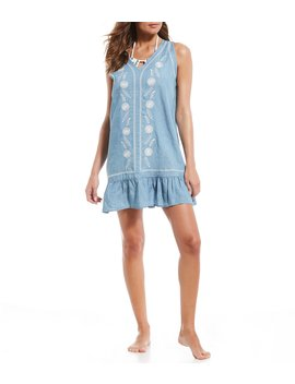 Chambray Embroidered Dress Cover Up by Gibson &Amp; Latimer
