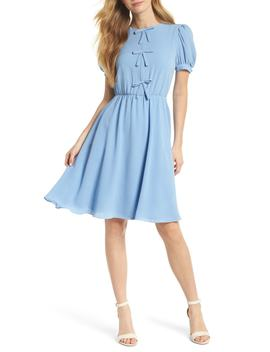 Ellie Crepe Puff Sleeve Dress by Gal Meets Glam
