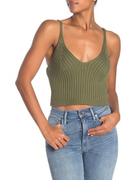 Knit Ribbed V Neck Crop Top by Dee Elly