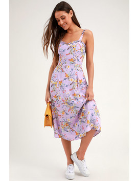 Sunny Meadow Lavender Floral Print Tie Back Midi Dress by Lulus