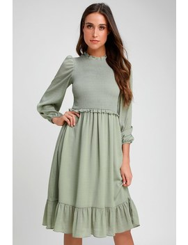 Whenever I'm With You Sage Green Smocked Long Sleeve Midi Dress by Lulus