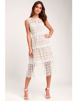 Larissa White Crochet Lace Sleeveless Midi Dress by Lulus